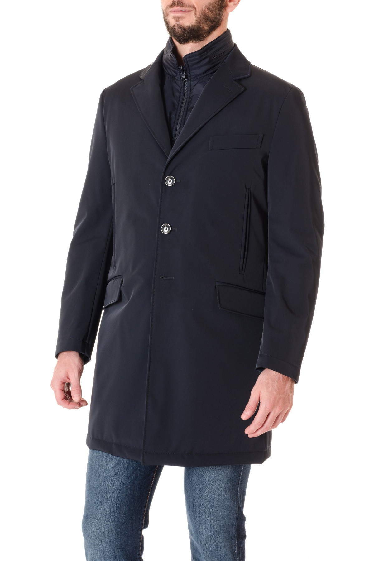 FAY A I Double Coat per uomo blu scuro in TESSUTO TECNICO - Rione ... 2cff341c837