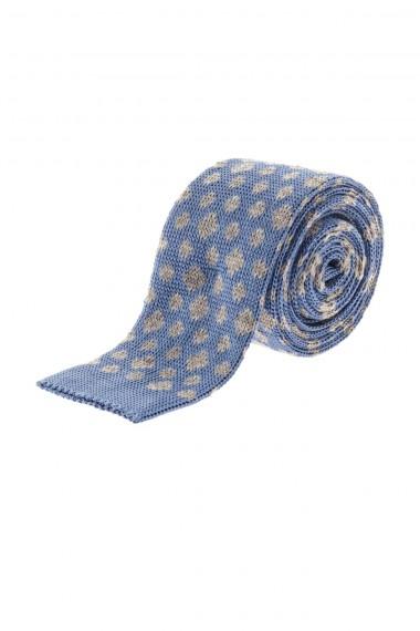 RIONE FONTANA  Cravatta celeste per uomo A/I 16-17 con rombi grigi