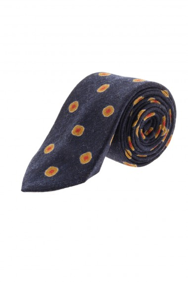 F/W 16-17 FRANCO BASSI Blue wool tie for men