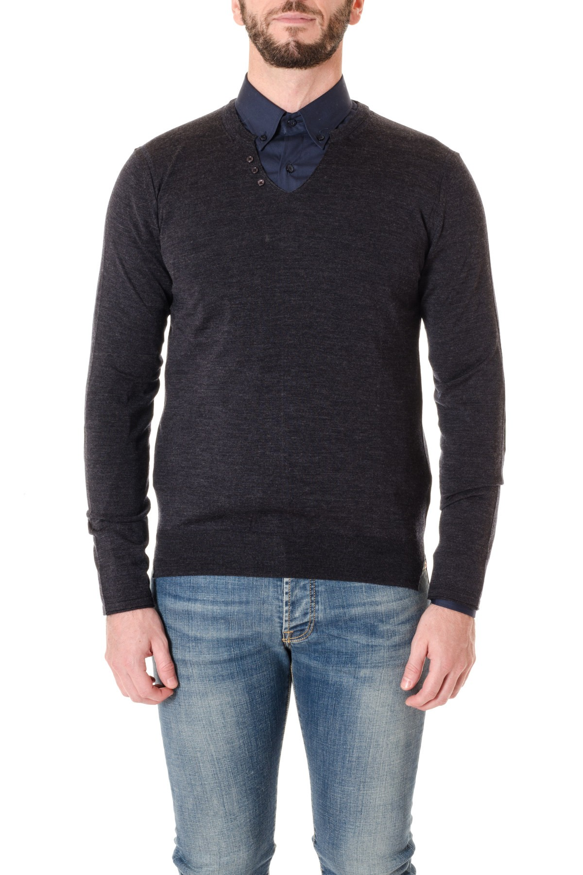 f17d49c8c8 PAOLO PECORA Dark grey V-neck sweater for men F W 16-17 - Rione Fontana