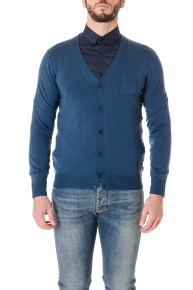 Blue cardigan PAOLO PECORA wool fabric F/W 16-17