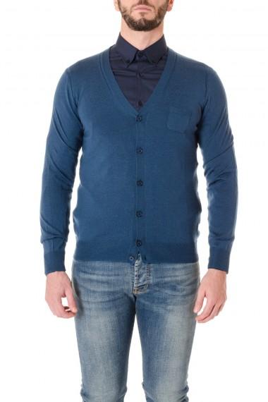 PAOLO PECORA cardigan in pura lana blu A/I 16-17