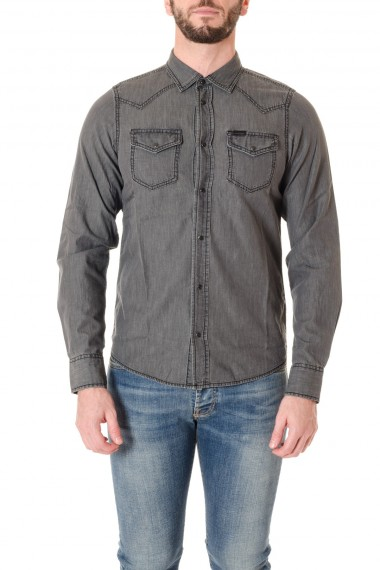 Camicia DIESEL grigia in cotone A/I 16-17
