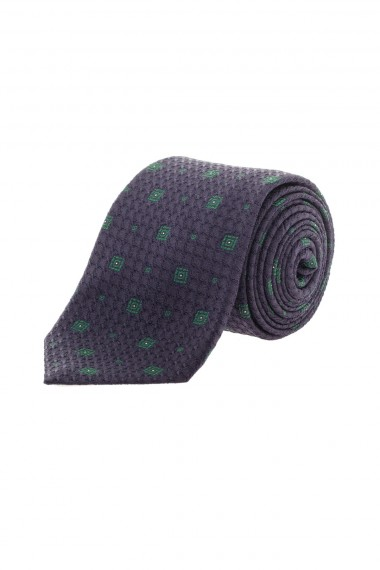Blue silk tie with green square F/W 16-17 RODA