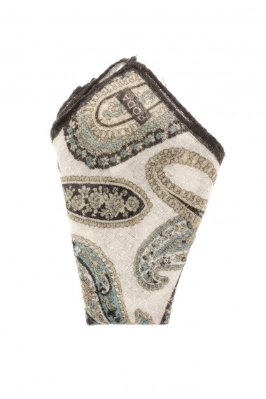 Beige patterned pocket square RODA