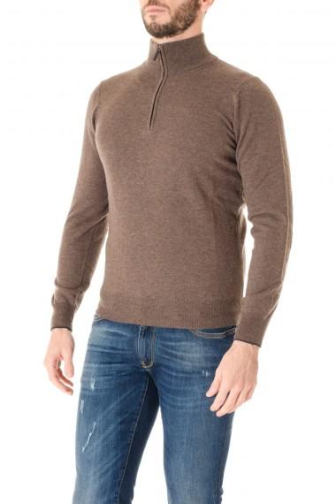 RIONE FONTANA Brown quarter zip sweaters for men F/W 16-17