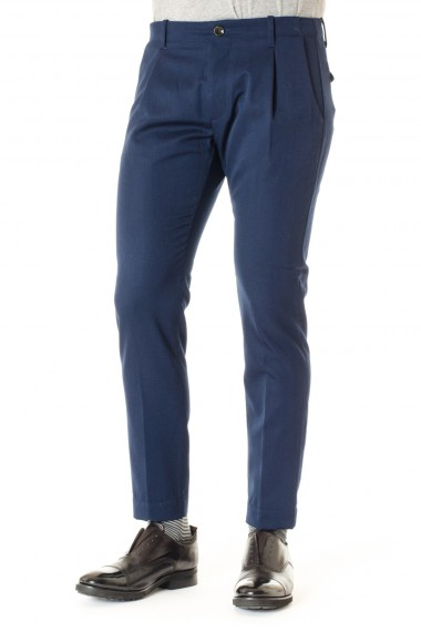 A/I 16-17 Pantaloni in lana uomo NINE IN THE MORNING blu avio