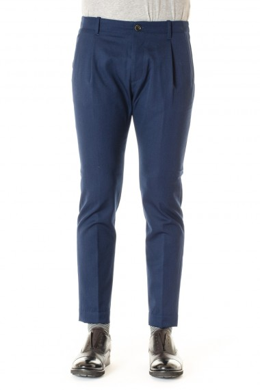 A/I 16-17 Pantaloni in lana uomo NINE IN THE MORNING blu avio