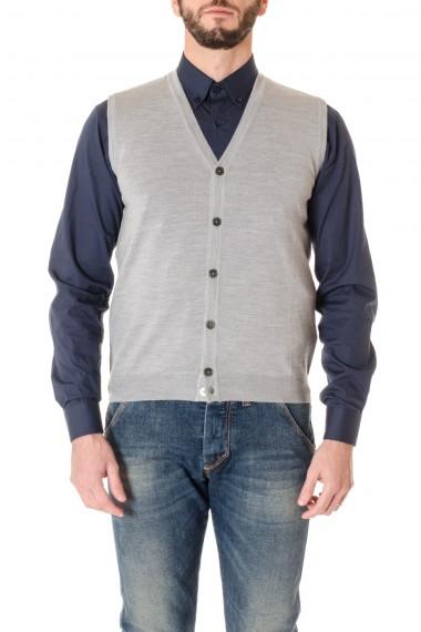 RIONE FONTANA Gilet grigio A/I 16-17 in lana vergine merinos