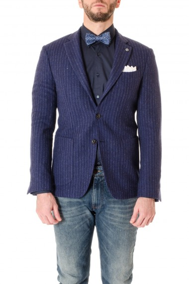 DOMENICO TAGLIENTE Blue pinstripe jacket for men F/W 16-17