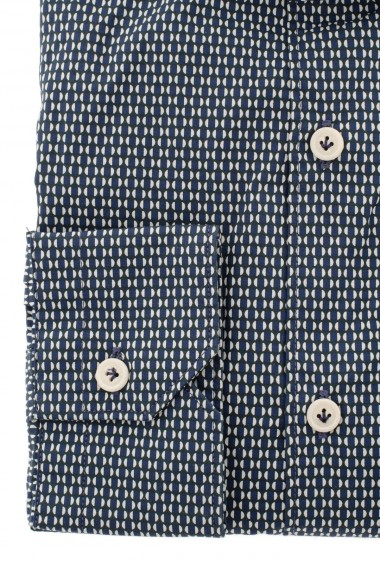 F/W 16-17 Shirt for men BORSA with micro-patterns on a blue background