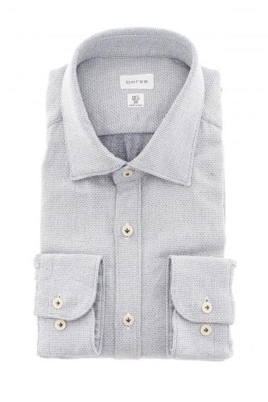 BORSA A/I 16-17 Camicia con micro disegni blu e beige su fondo bianco