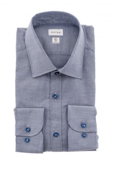 Camicia in cotone bianco e blu scuro BORSA A/I 16-17