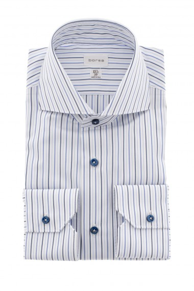 A/I 16-17 Camicia bianca a righe blu e azzurre BORSA per uomo