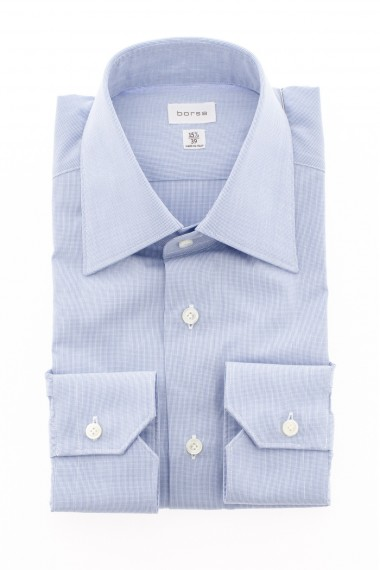 Camicia BORSA con microquadretto blu e bianco A/I 16-17
