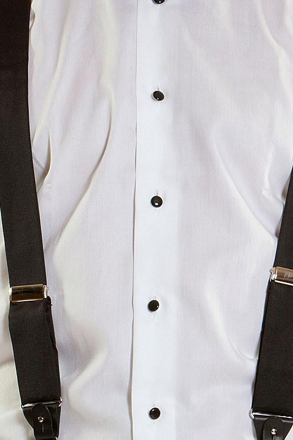 5144307c9d MAURO GRIFONI Camicia bianca con bottoni neri per uomo Polsi gemelli ...