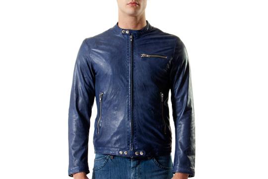 giacca ecopelle uomo blu