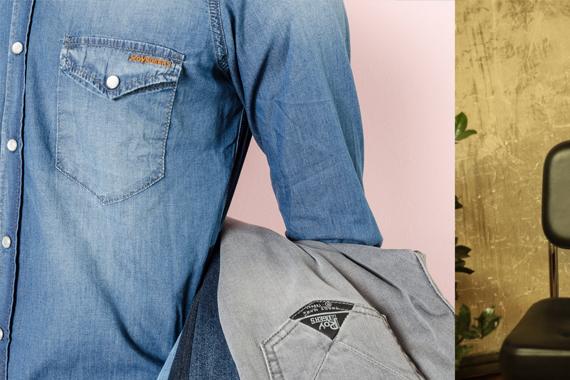 Camicia jeans e jeans grigio Roy Roger's