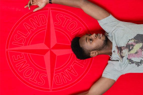 Asciugamano rosso Stone Island