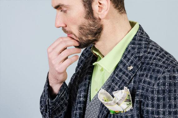 Collezione Uomo Primavera Estate 2017. Fazzoletto FeFè, giacca Tagliatore, polo Etro, gilet LBM 1911